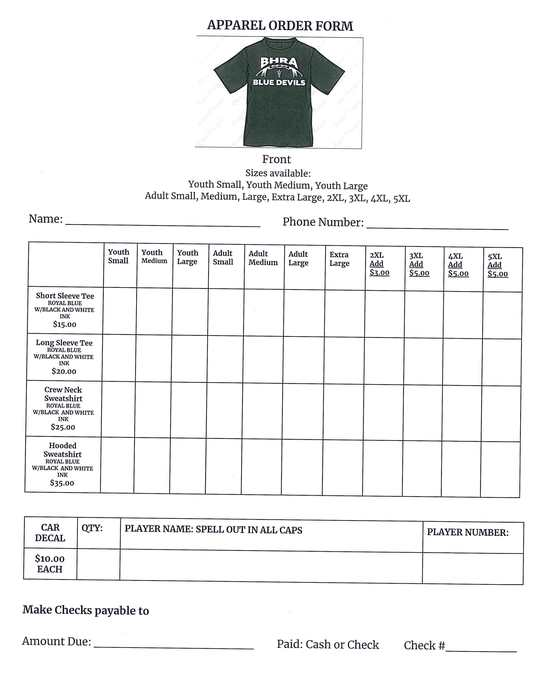 Football Apparel Order Form