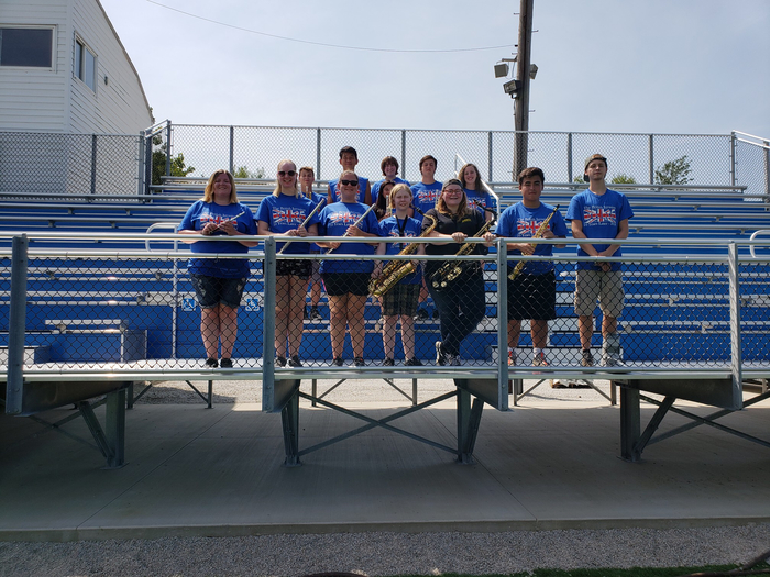 Marching blue seniors.