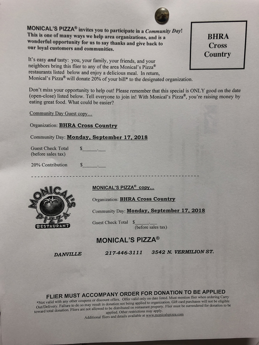 Monicals flyer for cross country