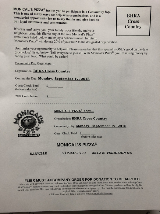 Monical's pizza flyer for Cross Country