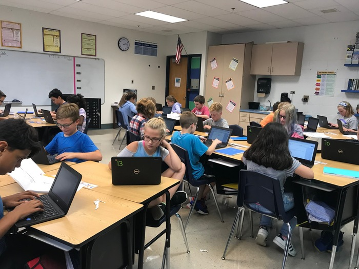 Miss Wahlfeldt's class working hard on the chromebooks!
