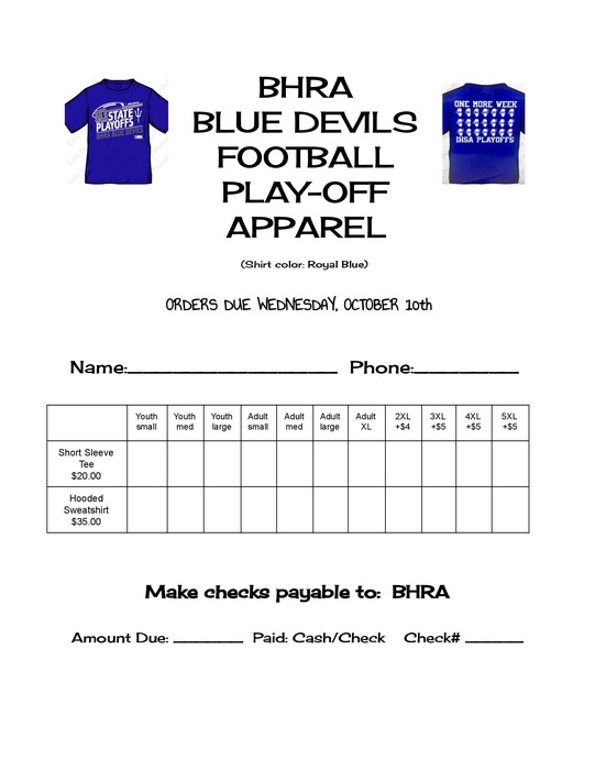 Playoff Apparel Order Form