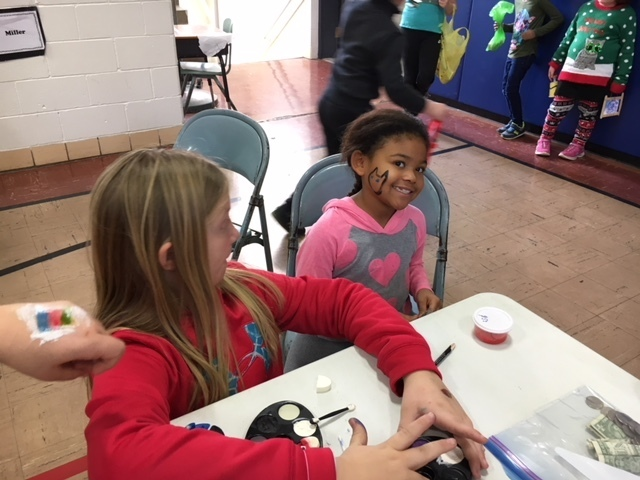 Face painting was a popular service.