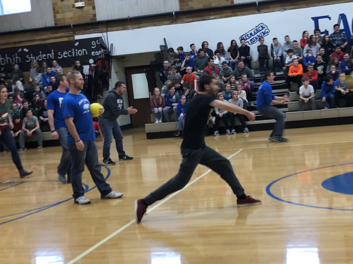 Mr. Click getting in on the dodgeball action!