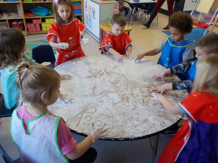 Writing letters in shaving cream!