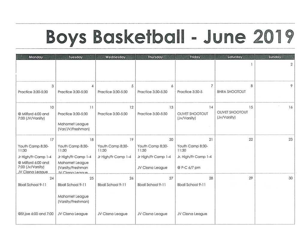 Boys Basketball Summer Schedule