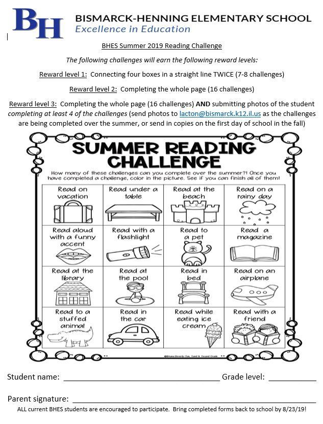2019 Summer Reading Challenge is here!  All BHES students are encouraged to participate.  Rewards will be awarded based on how many challenges are completed.  Print the file to work on throughout the summer, then bring it back in August.  Enjoy your summer, and happy reading!